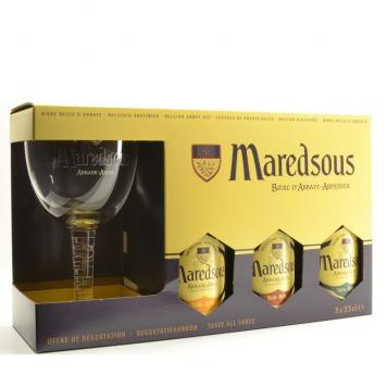 Maredsous komplekt 3x33cl + klaas
